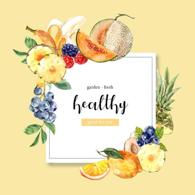 Сосновое яблоко, дыня, виноград, дыня фрукты, творческий желтый шаблон темы иллюстрации. Бесплатные векторы