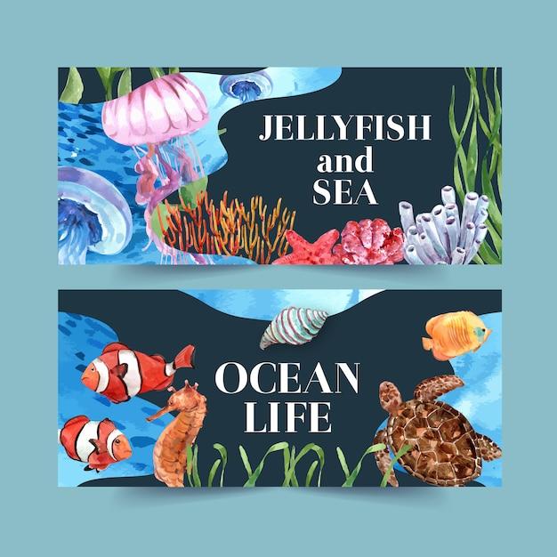Баннер с классической морской темой, креативная контрастная цветная иллюстрация Бесплатные векторы