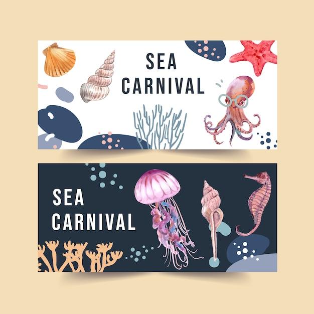 海の動物の概念、要素の図テンプレートと水彩のバナー。 無料ベクター