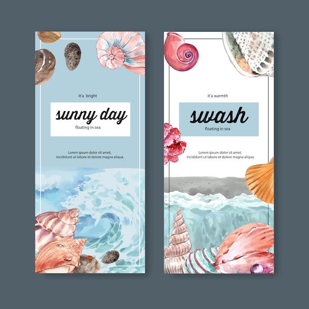 Баннер с концепцией волны и моллюсков, пастельные тематические иллюстрации шаблон. Бесплатные векторы
