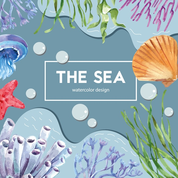 海の下の動物、創造的なコントラストカラーイラストテンプレートとシーライフテーマフレーム 無料ベクター
