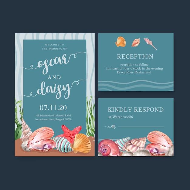 ヒトデや貝殻の概念、カラフルなイラストと結婚式招待状水彩 無料ベクター