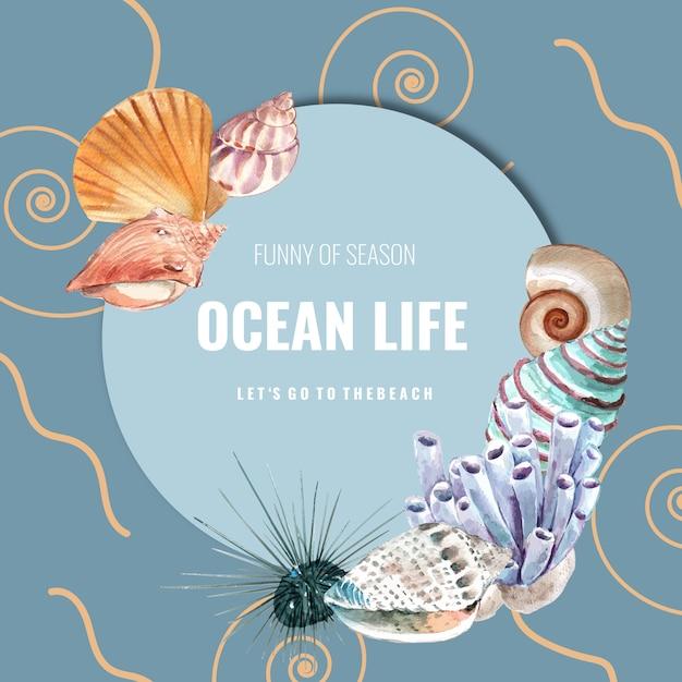 Венок с морской темой, ракушками и кораллами акварельные иллюстрации шаблон Бесплатные векторы