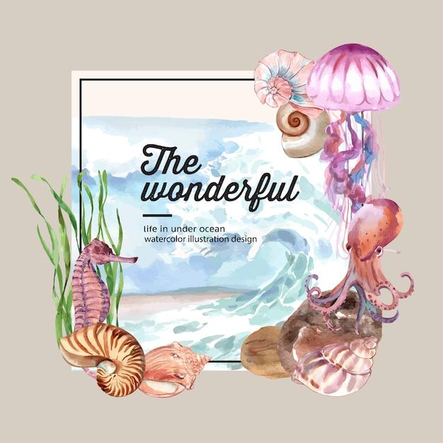 海の動物の概念、カラフルなイラストテンプレートと花輪水彩 無料ベクター