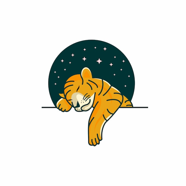 Шаблон логотипа спящего тигренка Premium векторы