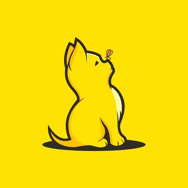 蝶猫のロゴのテンプレート Premiumベクター