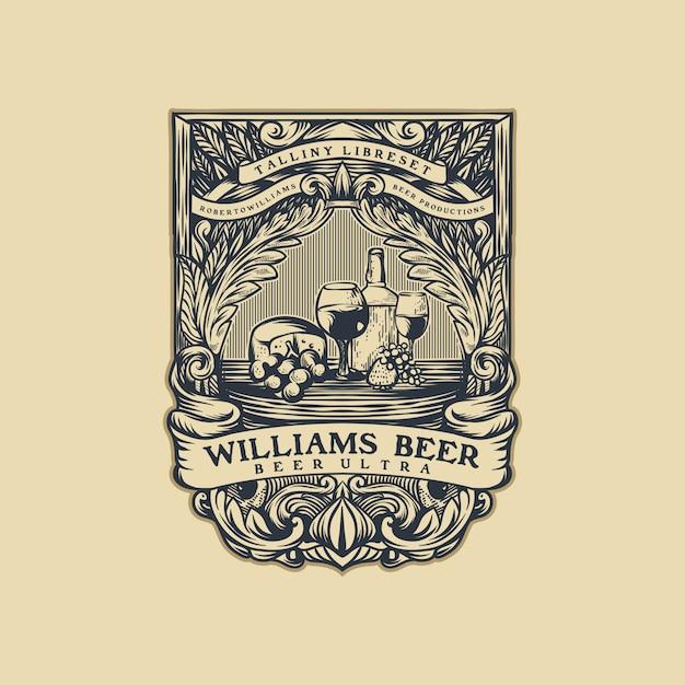 ビールのビンテージロゴベクトル Premiumベクター