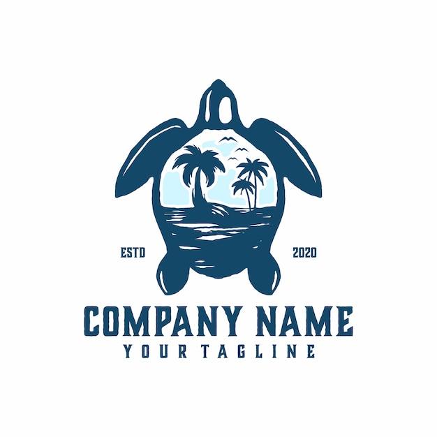 Черепаха пляж логотип шаблон вектор Premium векторы