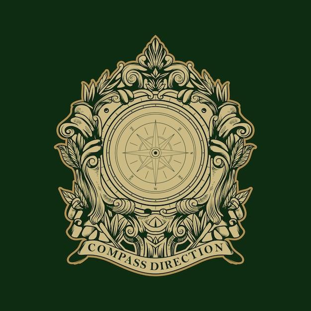 Направление компаса старинный старый логотип Premium векторы