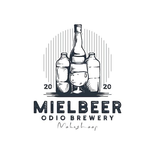 Выпить бутылку логотип ретро вектор Premium векторы