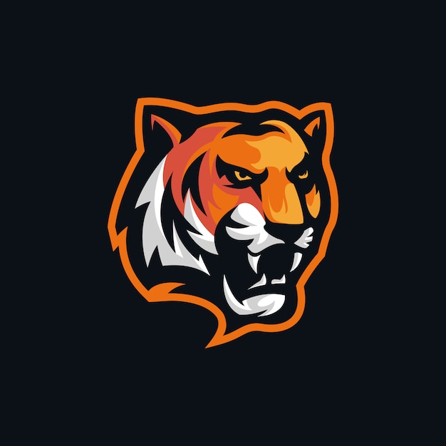Голова тигра злой логотип Premium векторы