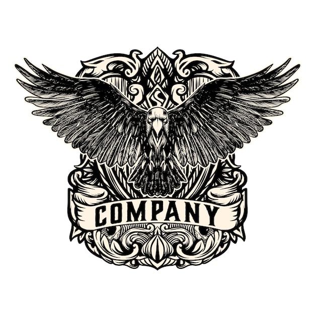 Старинный орел логотип вектор Premium векторы