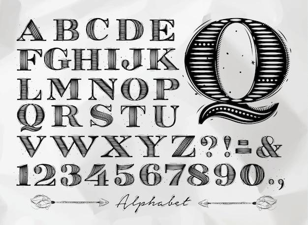 Винтажный алфавит Premium векторы