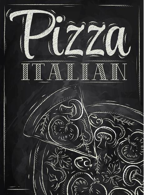 ポスターピザイタリアのチョーク Premiumベクター