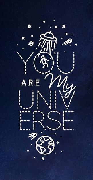 平らなスタイルのレターであなたの宇宙のポスターは白い線で私の宇宙の図です Premiumベクター