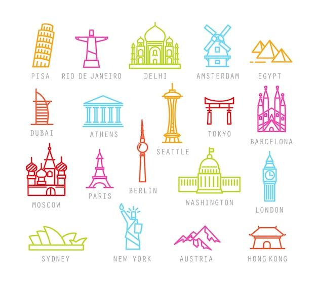 Городские иконы в цветном плоском стиле с названиями городов. Premium векторы