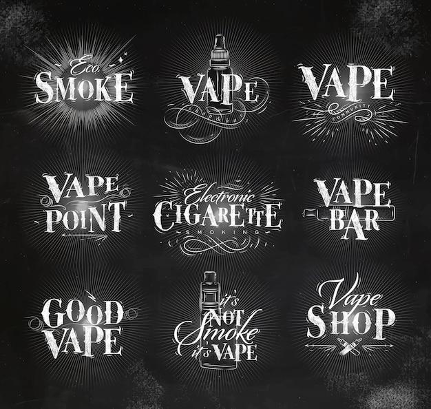 ビンテージレタリングのエコ煙、ワイプバー、そのチョークではない煙の描画のラベル Premiumベクター
