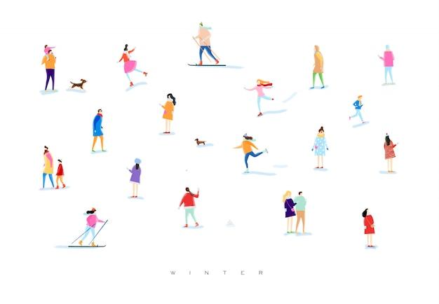 Иллюстрированные люди на зимней прогулке Premium векторы