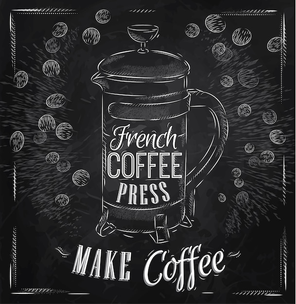 ポスターフランスのコーヒーのプレスチョーク Premiumベクター