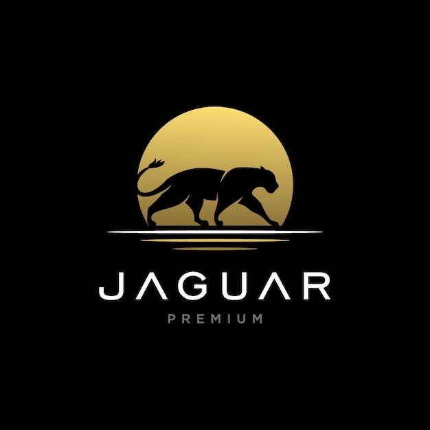 Потрясающий ягуар с логотипом заката Premium векторы