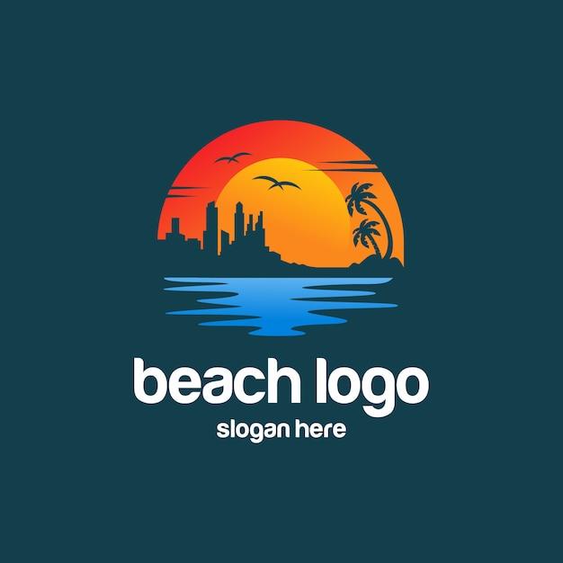 Пляжный летний логотип Premium векторы