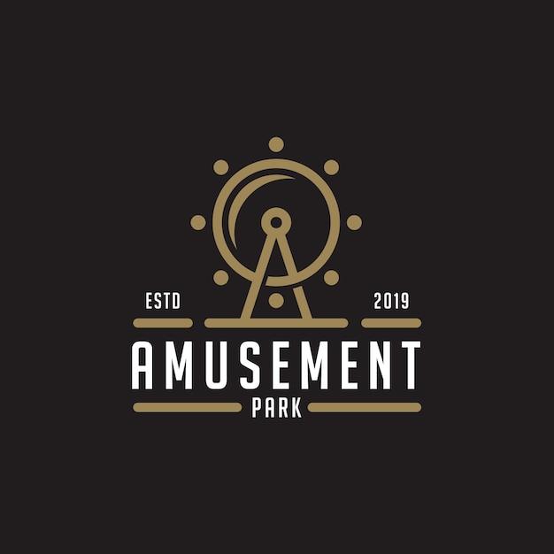 遊園地のロゴデザインのインスピレーション Premiumベクター