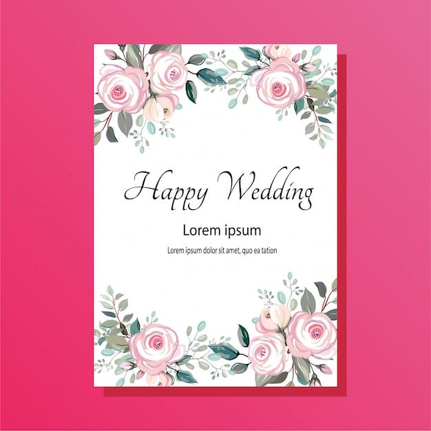 水彩花の結婚式の招待状 Premiumベクター
