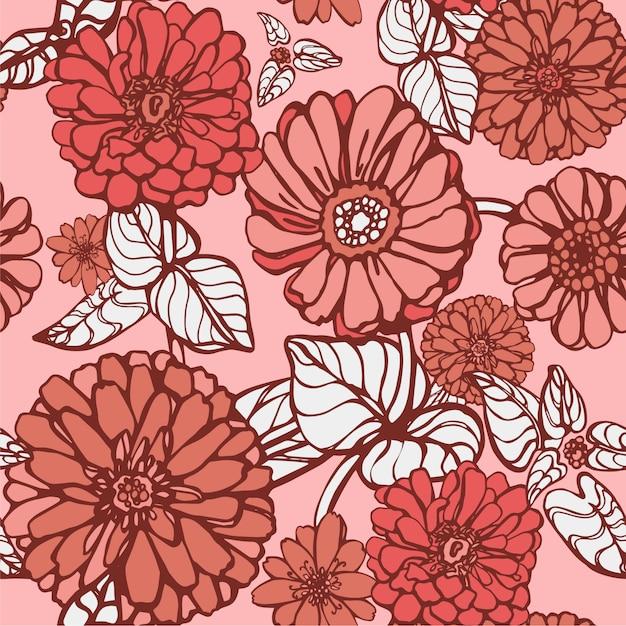 リビングカラーの花のベクトルパターン Premiumベクター