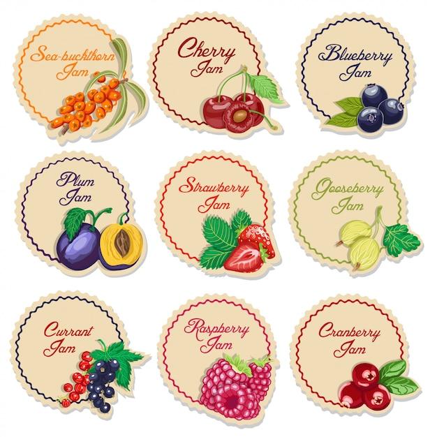 Набор изолированных этикеток для варенья из ягод Premium векторы