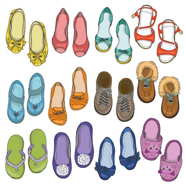 女性靴のセット Premiumベクター
