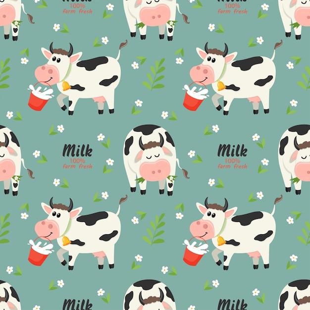 農場の牛と牛乳瓶のシームレスパターン Premiumベクター