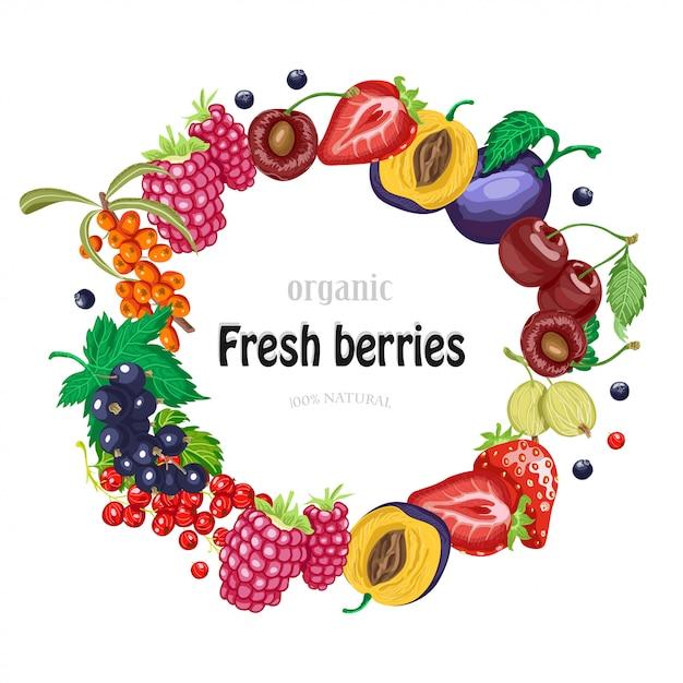 庭の果実とベクトルラウンドフレーム Premiumベクター
