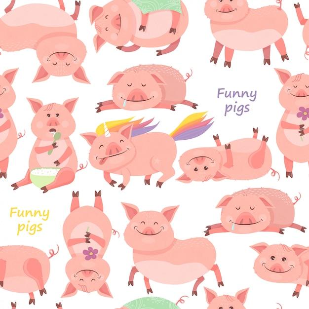 豚とのシームレスなパターン Premiumベクター