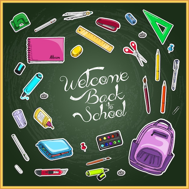 Добро пожаловать обратно в школу Premium векторы