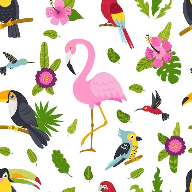 かわいい鳥や植物のシームレスパターン Premiumベクター