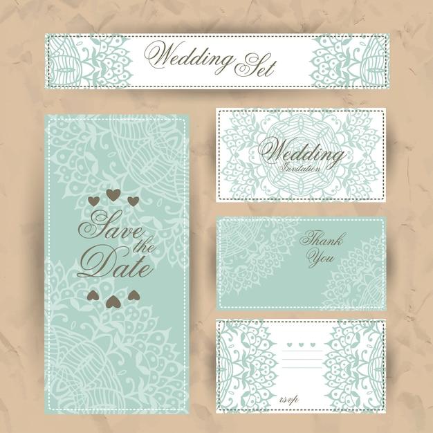 結婚式招待状、ありがとうカード Premiumベクター