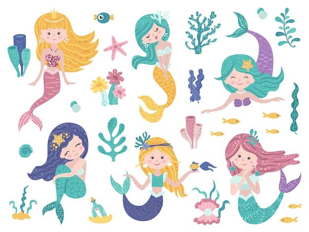 Набор милых русалок и морской природы. Premium векторы