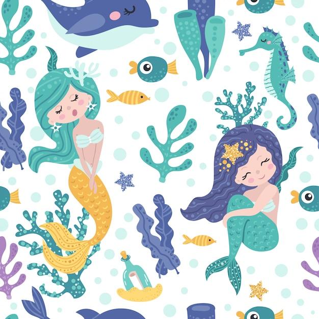 かわいい人魚、海藻、魚とのシームレスなパターン Premiumベクター