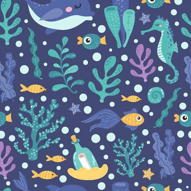 海藻と魚のシームレスパターン Premiumベクター