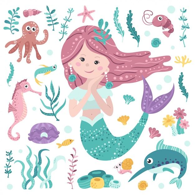 かわいい人魚、海藻、海洋住民のセット Premiumベクター