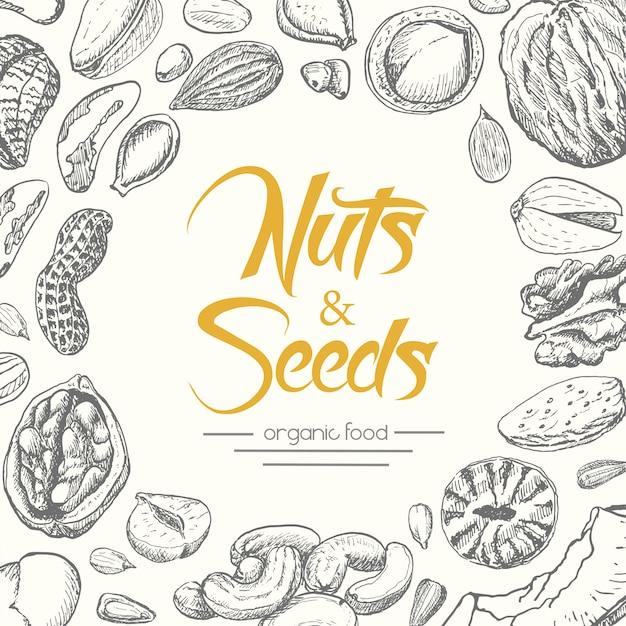 ナッツと種子の背景 Premiumベクター