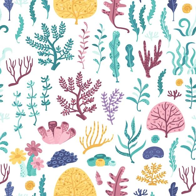 海藻とサンゴのシームレスパターン Premiumベクター