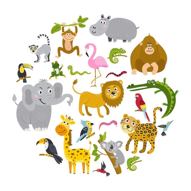 Набор тропических животных в круг Premium векторы