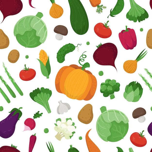 かわいい野菜とのシームレスなパターン Premiumベクター