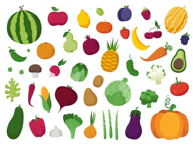 野菜、果物、果実のセット Premiumベクター