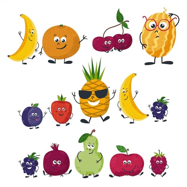 漫画のスタイルで分離された果物 Premiumベクター