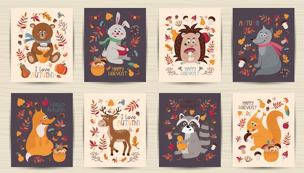 Набор осенних открыток с лесными животными Premium векторы