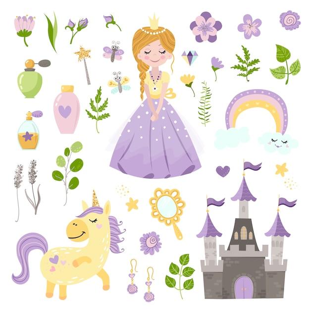 Векторный набор прекрасной принцессы, замка, единорога и аксессуаров Premium векторы
