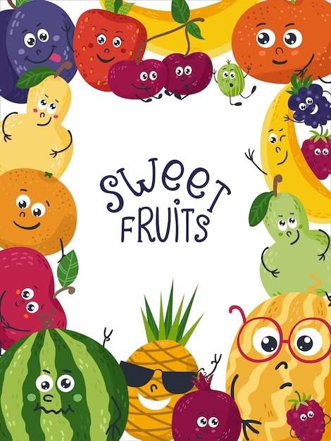 かわいい果物と背景 Premiumベクター