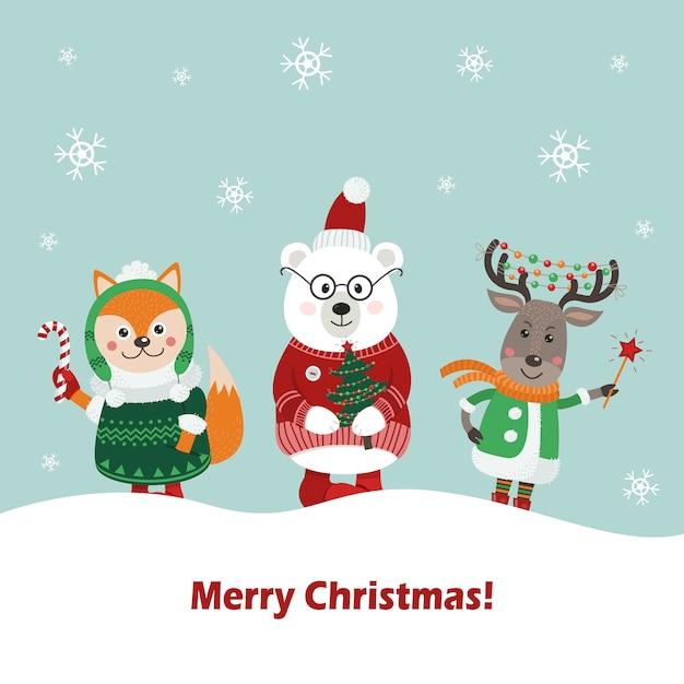 かわいい森の動物のクリスマスカード。 Premiumベクター